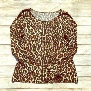 Apt 9 Leopard Print Long Sleeve Shirt Size M
